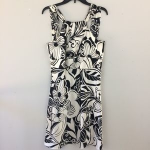 Ann Taylor Floral Midi Fit & Flare Cocktail Dress